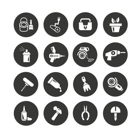 tool icons set in circle button style
