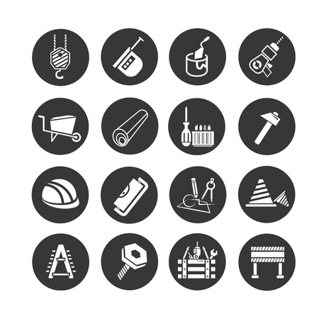 construction tool icon set in circle buttons Illustration