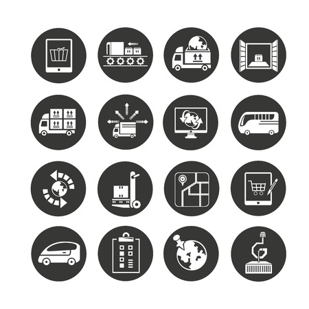 shipping and logistics icon set in circle buttons