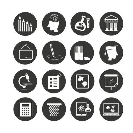 icono de la escuela en botones de círculo Ilustración de vector