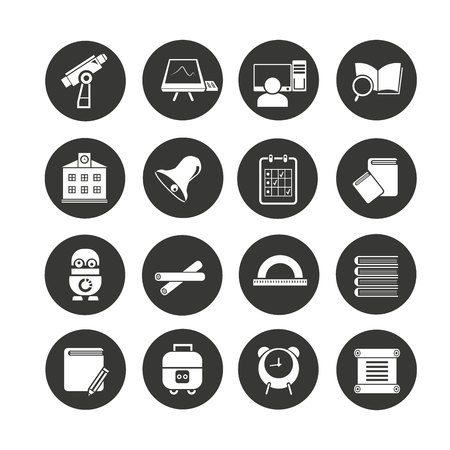school icons set in circle buttons