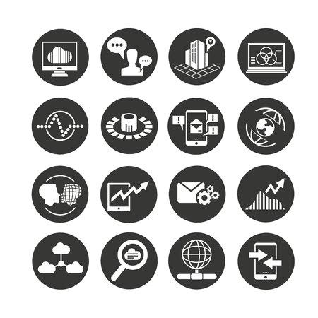 network and data analytics icons