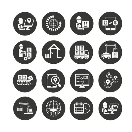 shipping management icon set in circle buttons