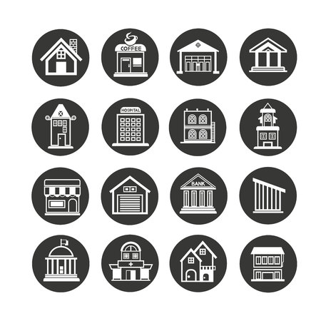 building icon set in circle buttons