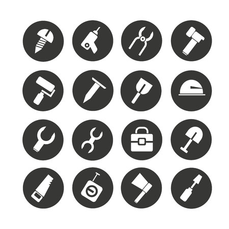 tool icon set in circle buttons