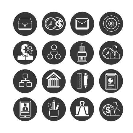 office icon set in circle buttons