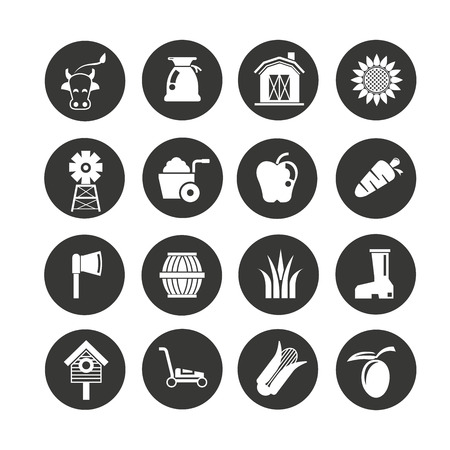 agriculture and farm icon set in circle buttons