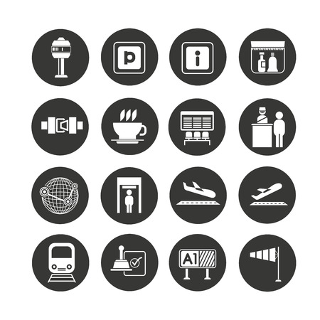 airport icon set in circle buttons Stock Illustratie
