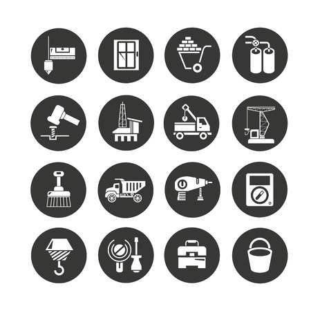 construction and tool icon set in circle buttons