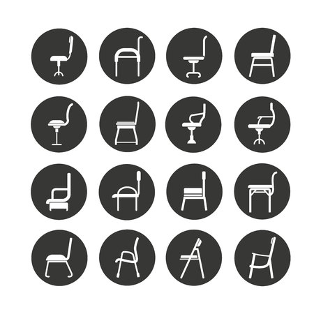chair icon set in circle button Illustration