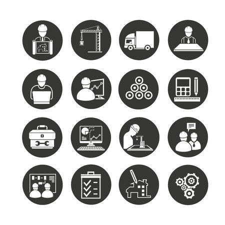 construction management icon in circle buttons