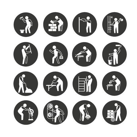 icona del lavoratore industriale impostato nel pulsante cerchio