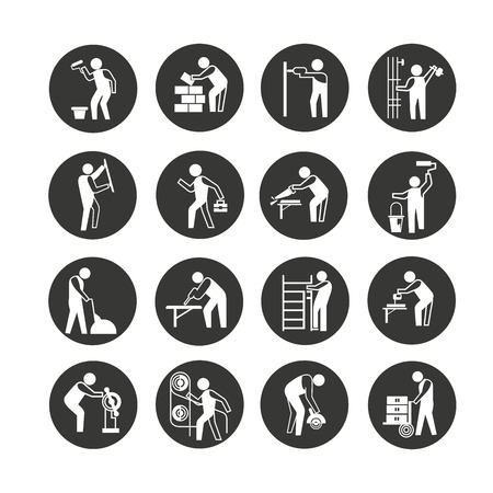 industrial worker icon set in circle button