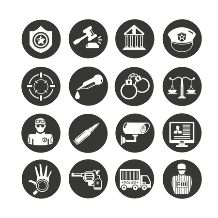 law and police icon set in circle button