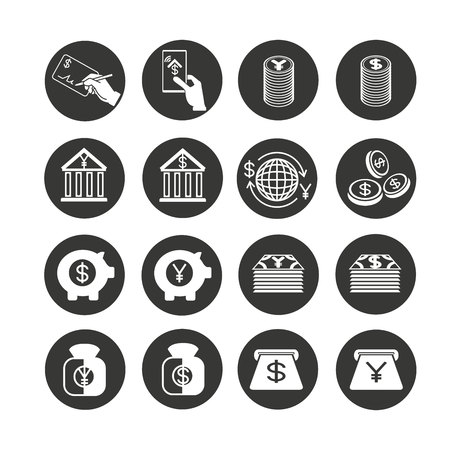 finance and banking icon set in circle button