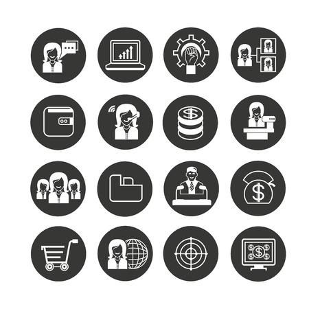 business management icon set in circle button
