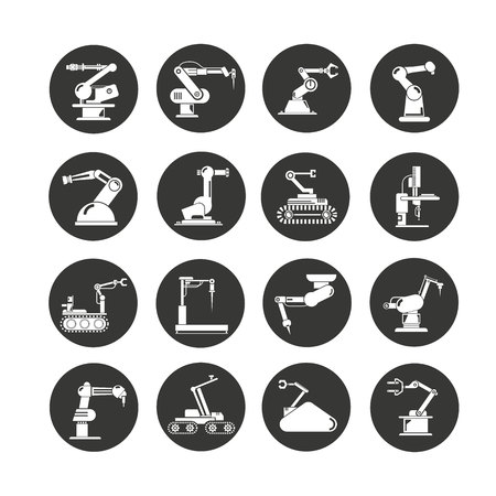 robot icons set, robotic arm