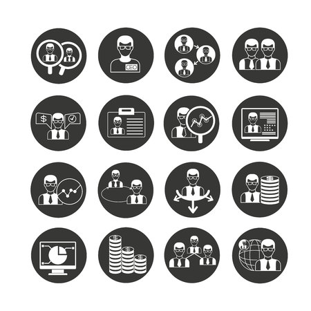 office and business icon set in circle button
