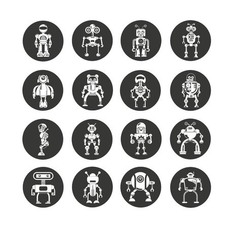 robot character icons in circle button