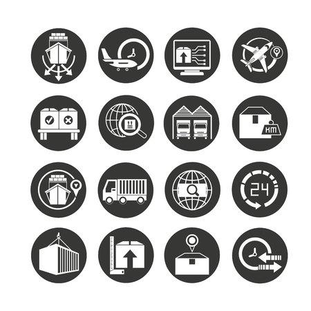 shipping and logistics icon set in circle button Vektoros illusztráció