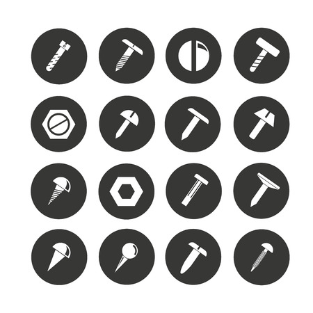 rivet, screw and bolt icon set in circle buttons