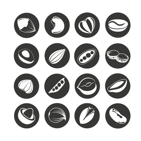 nut and bean icon set in circle buttons