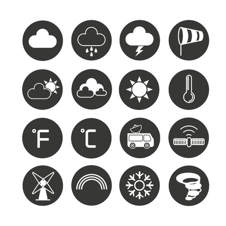 weather icon set in circle buttons