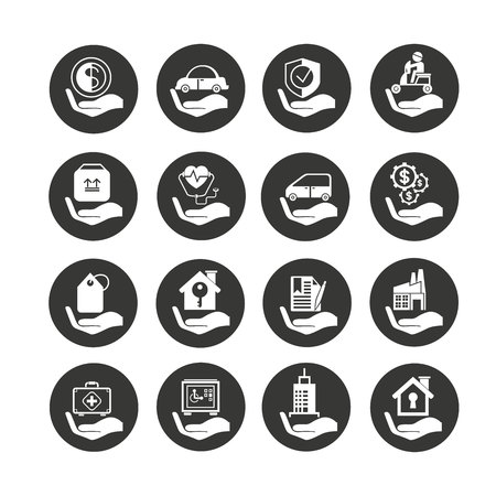 insurance icon set in circle buttons