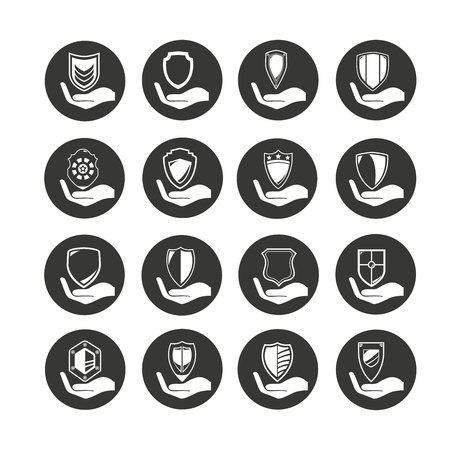 hand holding shield icon set in circle buttons