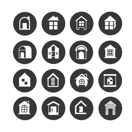 house icon set in circle buttons Ilustrace