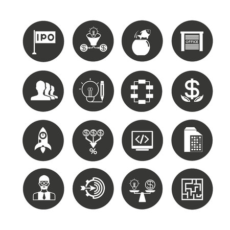 business startup icon set in circle buttons Illustration