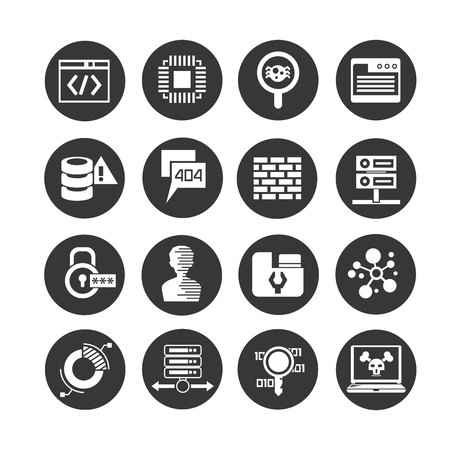 programming and network icon set in circle buttons Illustration