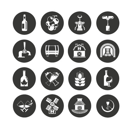 wine icon set in circle buttons