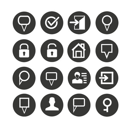 web icon set in circle buttons Illustration