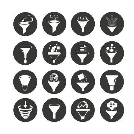 funnel and filter icon set in circle buttons