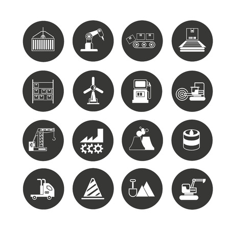industry icon set in circle buttons