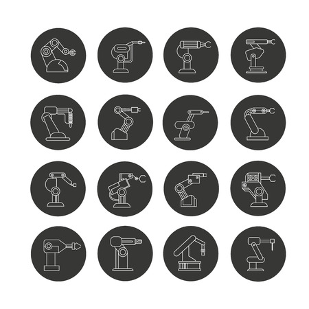 industrial robot icon set in circle buttons