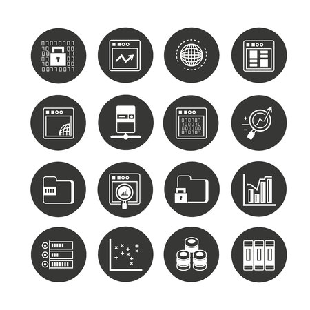 network and data analytics icon set in circle buttons Ilustração