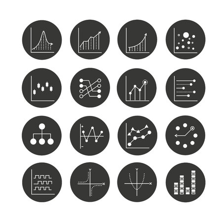 graph and chart icon set in circle buttons