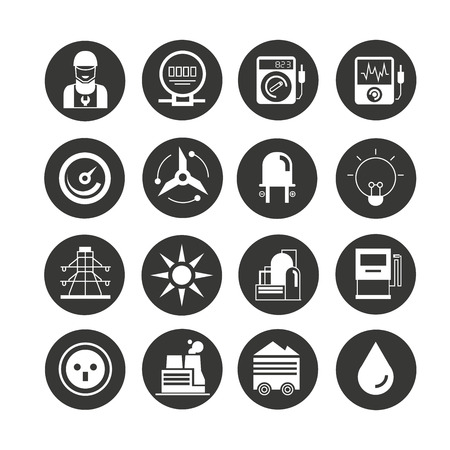 energy icon set in circle buttons