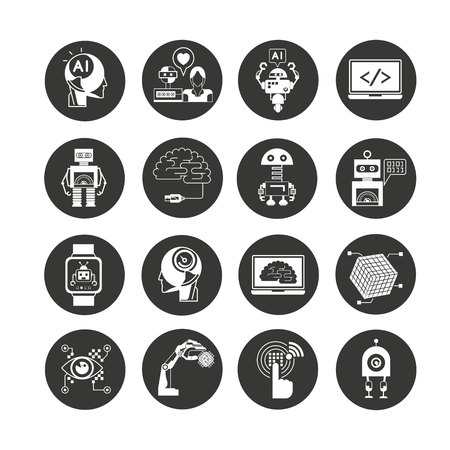 robotics and artificial intelligence icon set in circle buttons Ilustracje wektorowe