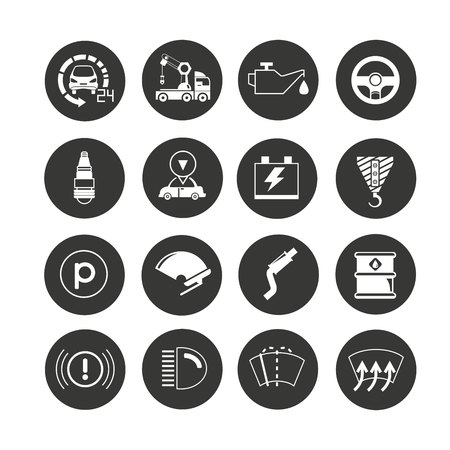 auto service icon set in circle buttons Illustration