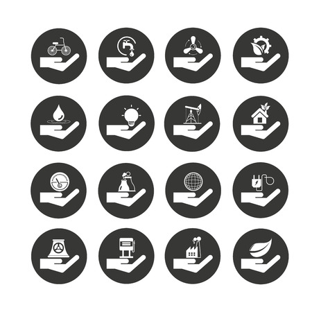 hand holding energy icons in circle buttons Ilustracja