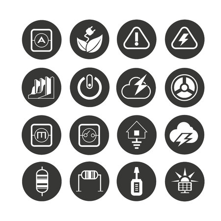 energy icon set in circle buttons Illusztráció