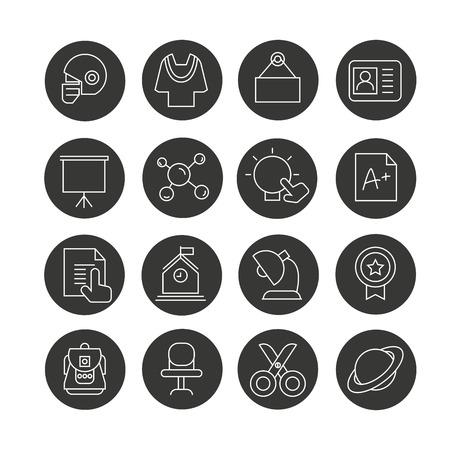 education icon set in circle buttons