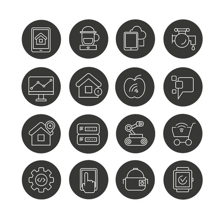 device for smart technology concept icon set in circle buttons Illustration