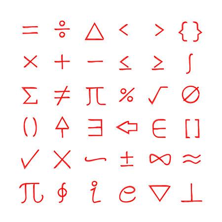 hand drawn math sign set