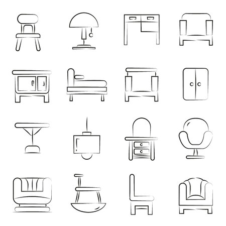 hand drawn home furniture icon set