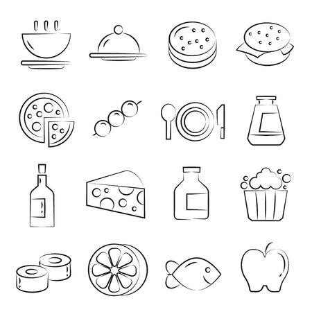 hand drawn food icons set