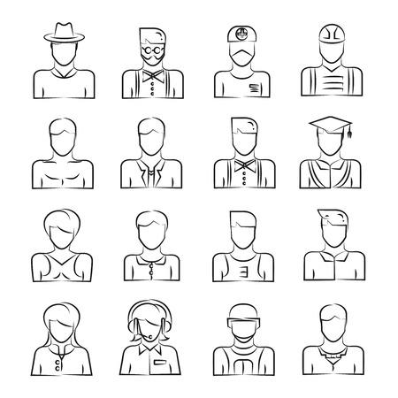 hand drawn people avatar icons
